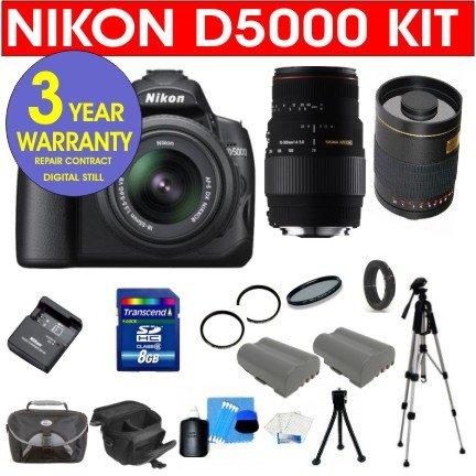 "Nikon D5000 12.3 Mp Dx Digital Slr Camera With 18-55Mm F/3.5-5.6G Vr Lens And 2.7-Inch Vari-Angle Lcd + Sigma 70-300Mm Macro Zoom Lens + Rokinon 500Mm F/8 Lens With 2X Converter (=1000Mm) + High Capacity Li-Ion Battery + 4 Gb Memory Card + 50"" Titanium An"