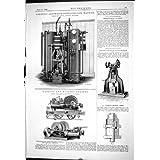 Impresión Antigua de 1888 Anhídridos Carbónicos Que Dirigen Que Refrigeran el Motor Devanado a máquina Salvaje...