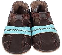 Robeez Colorblock Sandal Flat (Infant), Brown, 9-12 Months M US Infant