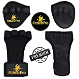 Crossfit/Weightlifting Gloves With Wrist Wraps & Neoprene Hand Grip Pads Bundle Set For Men & Women - Money-Saving 2-in-1 Fitness Bundle for Cross Training, Weightlifting & Gym Workout (Medium), Medium/Black