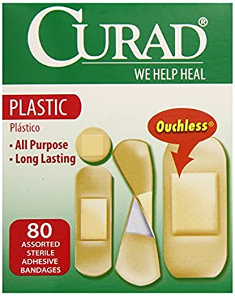 Curad Assorted Sizes Plastic Adhesive Bandages, 80-Count Boxes (Pack of 8)