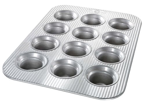 USA Pans 12 Cup Mini-Crown Muffin Pan, Aluminized Steel with Americoat