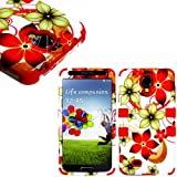 "myLife (TM) Red - Floral Wave Design (3 Piece Hybrid) Hard and Soft Case for the Samsung Galaxy S4 ""Fits Models: I9500 I9505 SPH-L720 Galaxy S IV SGH-I337 SCH-I545 SGH-M919 SCH-R970 and Galaxy S4 LTE-A Touch Phone"" (Fitted Front and Back Solid Cover Case + Internal Silicone Gel Rubberized Tough Armor Skin)"