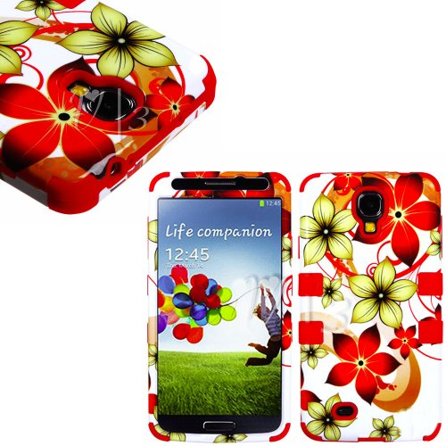 "Mylife (Tm) Red - Floral Wave Design (3 Piece Hybrid) Hard And Soft Case For The Samsung Galaxy S4 ""Fits Models: I9500, I9505, Sph-L720, Galaxy S Iv, Sgh-I337, Sch-I545, Sgh-M919, Sch-R970 And Galaxy S4 Lte-A Touch Phone"" (Fitted Front And Back Solid Cove"