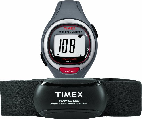 Timex Unisex T5K729 Easy Trainer Analog Hrm Flex Tech Chest Strap & Mid-Size Gray/Red Watch front-763721