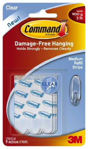 Command Medium Refill Strips, Clear, 9-Strip