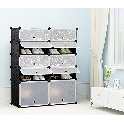 Nex Shoe Rack Halloween Plastic Toys Organizer DIY Cube Organizer Portable Shoes Cabinet Bookcase Plastic Storage Rack(Black and White) (Tall Shoe Storage compare prices)