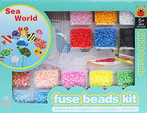 ART:EGO ™ - Fuse Beads Kit - Intelligent Toys Sea World - R-5mm Box Set - Includes 6,000 Beads, Pegboard, Tweezer, Pattern, Ironing Paper, Instruction and Accessories - Perfect Craft for Kids (Glass Bead Oven compare prices)