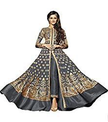 Attractive Gray Colored Georgette Anarkali Suit