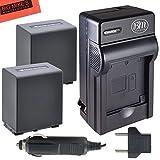 Pack of 2 NP-FV100 Batteries And Battery Charger for Sony HDR-CX220 HDR-CX230 HDR-CX260V HDR-CX290 HDR-CX380 HDR-CX430V HDR-CX580V HDR-CX760V HDR-PJ230 HDR-PJ260V HDR-PJ380 HDR-PJ430V HDR-PJ580V HDR-PJ650V HDR-PJ710V HDR-PJ760V HDR-PV790V HDR-TD30V Handyc