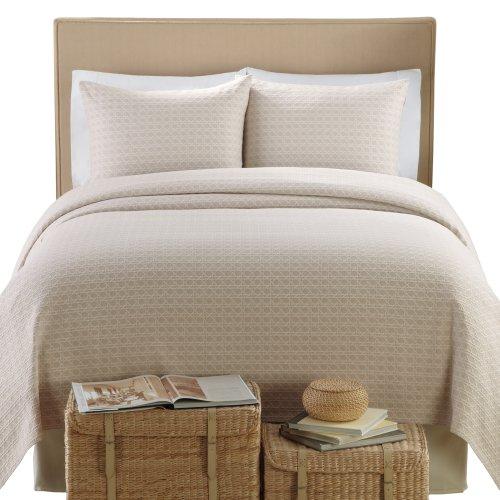 Lamont Home Lanai Matelasse 100-Percent Cotton 3-Piece Coverlet/Sham Set, King Size, Taupe front-354607