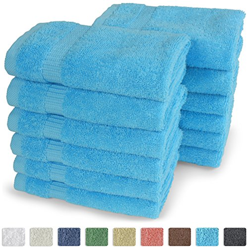 "Turkish Luxury Hotel & Spa 13""x13"" Wash Cloth Set of 12 - 100% Genuine Cotton - From Turkey - Organic, Eco-friendly (Washcloths, Aqua)"