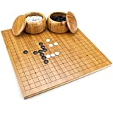 Reversible Bamboo Go Set with Board, Bowls, Bakelite Stones, and Bonus Xiangqi Chinese Chess Layout by Brybelly