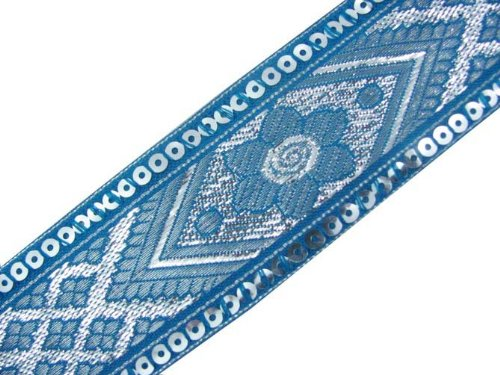 4.5 Y Turquoise Jacquard Woven Sequin Ribbon Trim Craft Border