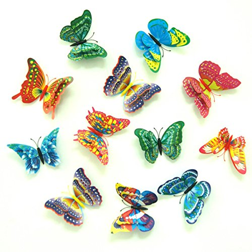 Uelfbaby 12 Pcs Beautiful 3d Butterfly Wall Decals Removable Diy Home Decorations Art Decor Wall Stickers & Murals for Babys Bedroom Tv Background Living Room (multicolor)