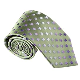 T8317 Green Checkered Woven Silk Neckie Luxury Business Box Set By Y&G