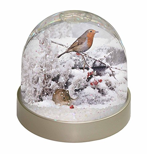 Snow Mouse and Robin Snow Waterball Christmas Gift - just like your gran used to own!