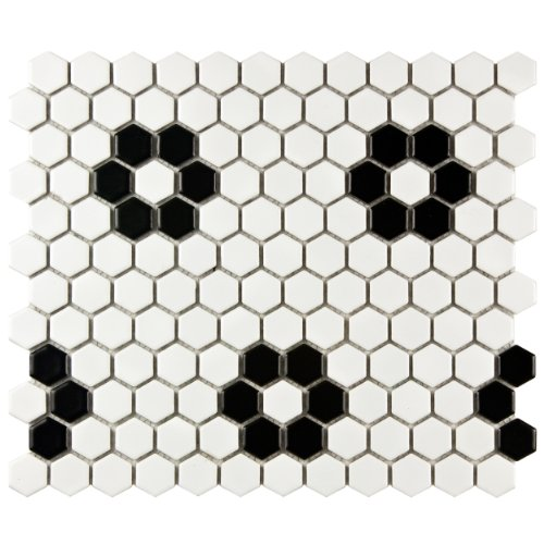 Retro Hex Matte White with Heavy Black Flower 10 1/4 x 11 3/4 Inch Porcelain Floor & Wall Tile (10 Pcs/8.54 Sq. Ft. Per Case, FREE Standard Shipping)