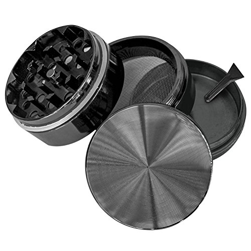 """Goliath Industry Herb, Spice, Tobacco Leaves & Weed Grinder With Pollen Catcher 2"""" - Made Of Durable Titanium - 4 Chambers & 49 Sharp, Diamond Shaped Teeth (Gun Metal)"""