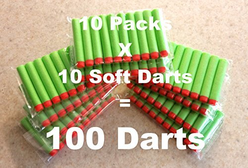 100-dart Refill Set, Green Darts 100 Pack compatible with Nerf N-strike Elite Rampage/retaliator Series Blasters, And Most of Nerf Dart Guns, and BuzzBee guns. By BlaydesSales - 1