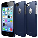 RINGKE SLIM Apple iPhone 5S Case [SF MATTE NAVY - Logo Cut-Out] SUPER SLIM + SF COATED + PERFECT FIT Premium Hard Case + Logo Protection Film Included for Apple iPhone 5 / 5S [ ECO Package]