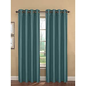 Window Elements Kim Faux Silk Extra Wide Grommet Curtain Panel Pair 108 X 96 Inch
