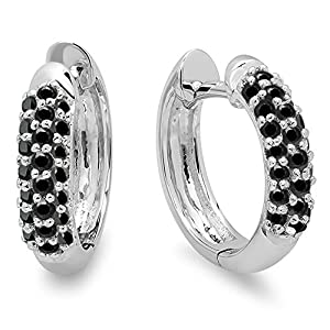 0.30 Carat (ctw) 18K White Gold Round Black Diamond Ladies Pave Set Huggies Hoop Earrings 1/3 CT