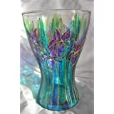 Hand painted Glass vase, Iris design.by Noonoo-art