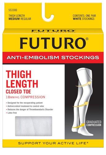Futuro Anti-Embolism Stockings Medium Regular White Thigh Length Closed Toe 1 PairB0000AKONA : image
