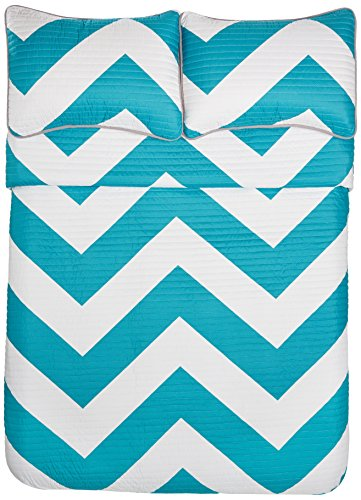 Pinzon 4-Piece Quilt Set - Full/Queen, Zigzag Teal