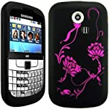 Wayzon Samsung Ch@t Chat Chat 335 S3350 S3353 Case Cover Skin Pouch Black Silica Rubber With Lotus Flower Pattern On Back