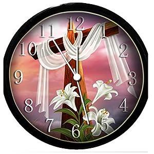 glow in the dark wall clock religious cross
