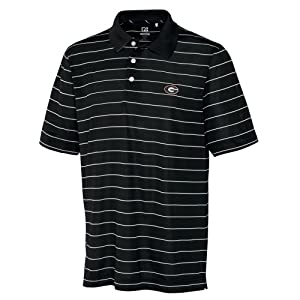 NCAA Mens Georgia Bulldogs Black White Drytec Sweeten Stripe Tee by Cutter & Buck