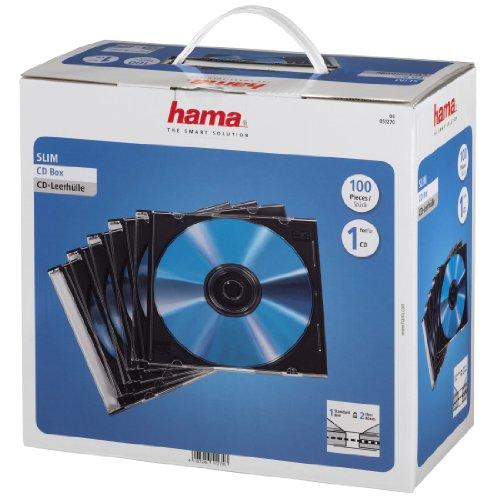 HAMA Custodia CD Slim confezione da  100 Pezzi, Trasparente/nero