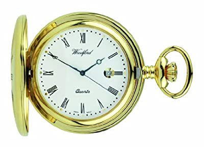 Woodford Pocket Watch 1211 Gold Plated Quartz Half Hunter