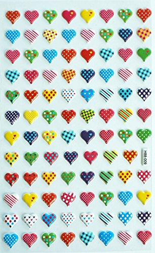 Jazzstick 87 Puffy Dimensional Multi-Color Mini Heart Decorative Stickers 10A07 - 1