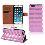 New Bling Wallet Pu Leather Stripe Flip Magnetic Cover Case For Iphone 6 4.7 Inch