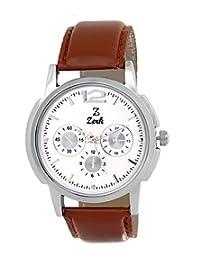Zerk Silver Analog Leather Round Watch