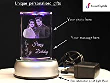 Fusion Crystals Personalized gift 3D Engraved Photo Frame Crystal Cube with Multicolour LED Light Base (Black:White)