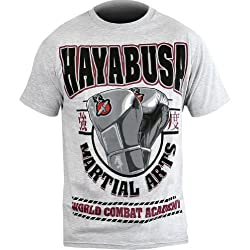 Hayabusa Official MMA Academy T-Shirt/Tee - Grey/Crimson / X-Large