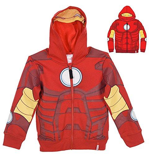 Felpa con Zip e Cappuccio con Maschera - Supereroi Spider-Man Captain America Iron Man - Bambino - Novità Prodotto Originale 6111HPD 0521HP [Rosso - Iron Man - 6 anni - 98 cm]