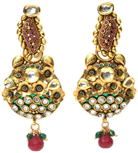Red New Choice Kundan And White Stone And Red Droplet Dangler Earring For Women (Multicolor)
