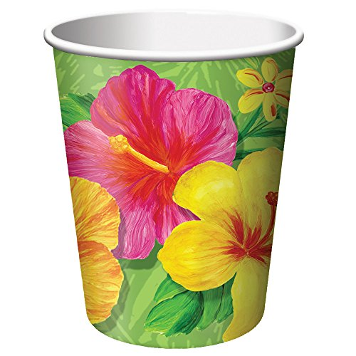 Creative Converting 8 Count Hot or Cold Beverage Cups, 9-Ounce, Tropical Vacation - 1