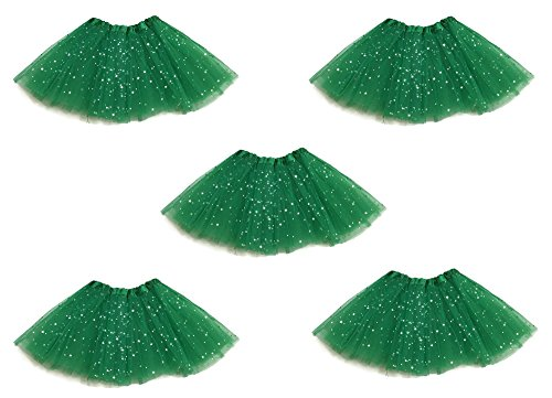 Rush Dance Princess Ballet Fairy Party - Sequin Tutus Skirt, Costume Favors Set (5 Packs, Kelly Green) (Dancing Shark Costume compare prices)