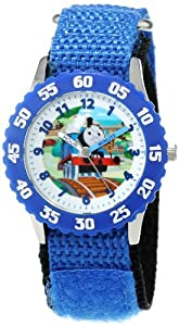 Thomas and Friends Kids' W000718 Kid's Stainless Steel Time Teacher Blue Bezel Blue Velcro Strap Watch