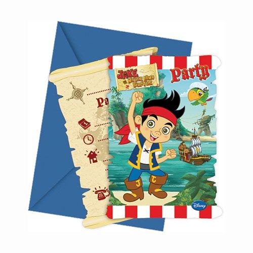 Partido Ênico Yo Ho Disney Jake y el País de Nunca Jamás invitaciones de la fiesta de los piratas (Pack de 6)