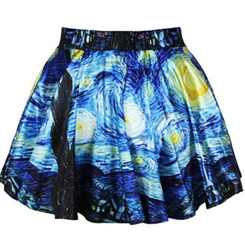 [Women Girls Casual High Waist Stretch Waist Flared Pleated Mini Skirt Van Gogh Starry Night] (Spongebob Dress)