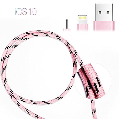 PhoneStar-Premium-8-pin-Ladekabel-Nylon-Textil-Kabel-USB-Datenkabel-1-Meter-fr-iPhone-7-7-Plus-6s-6s-Plus-6-6-Plus-SE-5s-5c-5-iPad-Pro-iPad-Air-iPad-Mini-iPod-Touch-in-pink