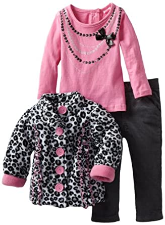 Nannette Baby-girls Infant 3 Piece Leopard Jacket Set, Grey, 24 Months