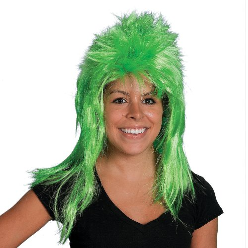 Captain Planet Wig Neon Green Mullet Adult Mens Cartoon Super Hero Costume